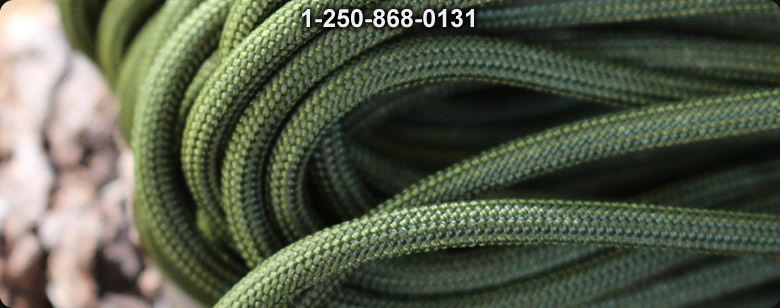 Paracord Commercial 550 INT Orange 50 ft - Bushcraft Canada