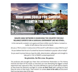 US Film Company look for survival experts...