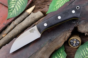 Barkriver Knives A2 TUSK Black Canvas Matte with Yellow Liners