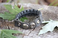 Leather Paracord bracelet BLACK