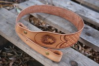 Canadian Made leather Rifle Sling Deer head