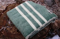 Canadian 100% Virgin Wool Blanket Green Photo